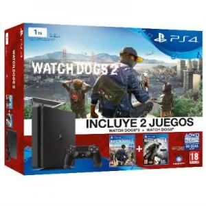 Consola Playstation 4 (PS4) Slim 1TB pack Watch Dogs 2